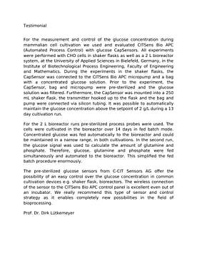 Testimonial FH Bielefeld about the insitu glucose sensor